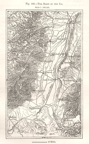 Associate Product The Basin of the Ill. Strasbourg Freiburg Basel. Sketch map 1885 old
