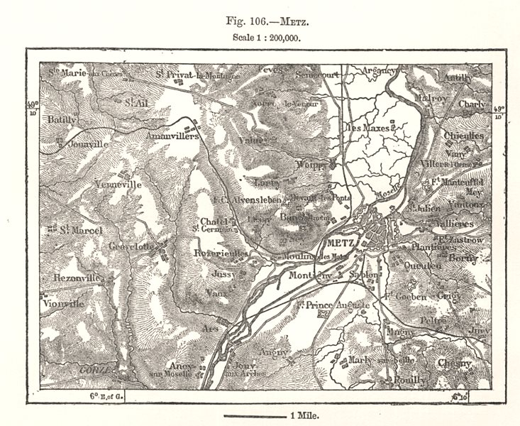 Associate Product Metz & environs. Moselle. Sketch map 1885 old antique vintage plan chart