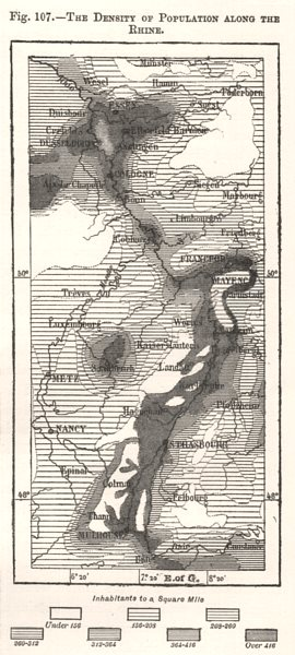 Associate Product The Density of Population Along the Rhine. Europe. Sketch map 1885 old
