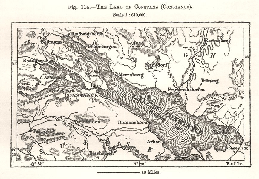Associate Product The Lake Constance (Bodensee). Switzerland. Sketch map 1885 old antique