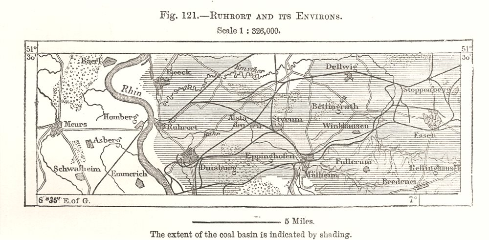 Associate Product Ruhrort and its Environs. Duisburg Essen Germany. Sketch map 1885 old