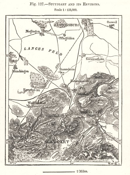 Associate Product Stuttgart and its Environs. Germany. Sketch map 1885 old antique chart