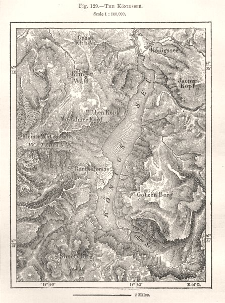 Associate Product The Konigssee. Germany. Sketch map 1885 old antique vintage plan chart