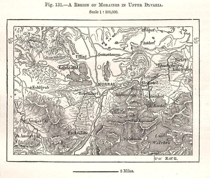 Associate Product Region of Moraines in Upper Bavaria. Murnau. Germany. Sketch map 1885 old