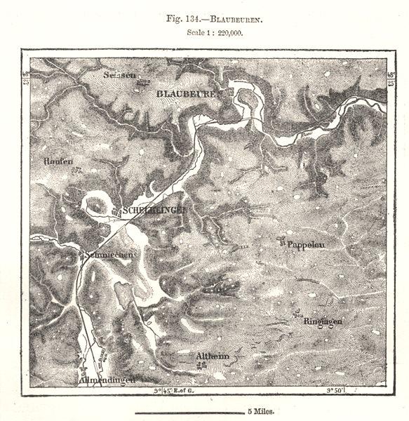 Associate Product Blaubeuren. Schelklingen. Germany. Sketch map 1885 old antique plan chart