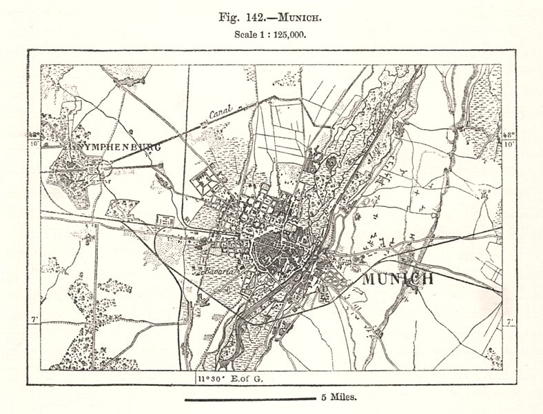 Associate Product Munich town city plan. Germany. Sketch map 1885 old antique chart