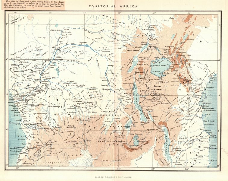 Map Of Africa Zambia.Details About Equatorial Central Africa Congo Tanzania Uganda Kenya Angola Zambia 1885 Map