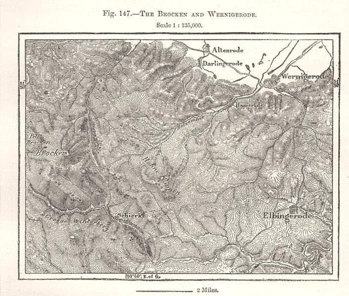 Associate Product The Brocken and Wernigerode. Elbingerode. Germany. Sketch map 1885 old