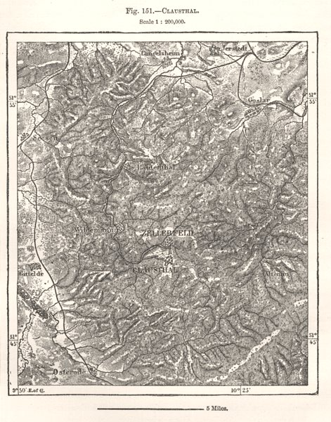 Associate Product Clausthal. Zellerfeld. Germany. Sketch map 1885 old antique plan chart
