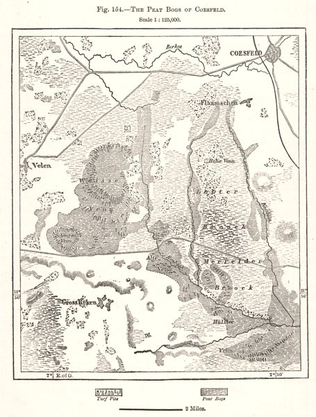 The Peat Bogs of Coesfeld. Germany. Sketch map 1885 old antique plan chart