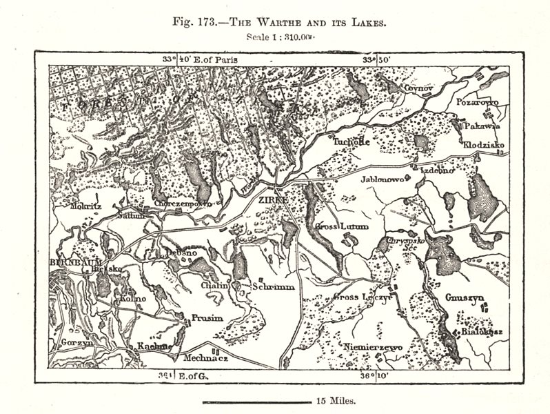 Associate Product The Warta and its Lakes. Zirke. Poland. Sketch map 1885 old antique chart