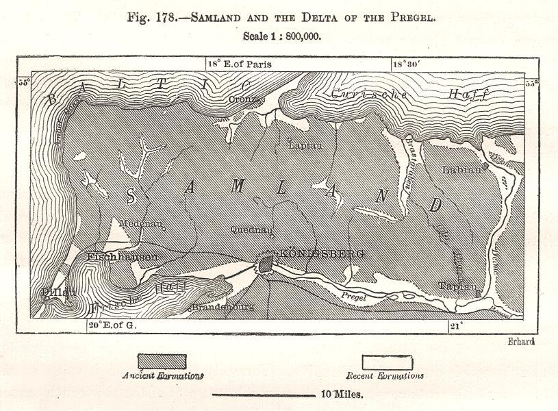Associate Product Samland & the Pregolya (Pregel) delta. Kaliningrad Russia. Sketch map 1885