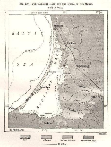 Curonian Lagoon Kurische Haff & Neman delta. Russia. Sketch map 1885 old