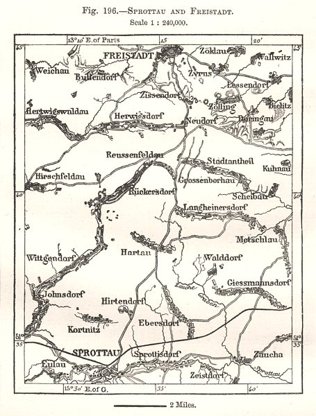 Associate Product Szprotawa and Kozuchow. Poland. Sketch map 1885 old antique plan chart