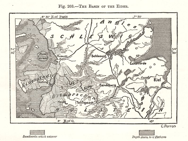 Associate Product The Basin of the Eider. Germany. Sketch map 1885 old antique plan chart