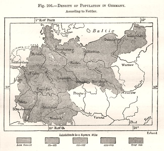 Associate Product Density of Population in Germany. Sketch map 1885 old antique plan chart