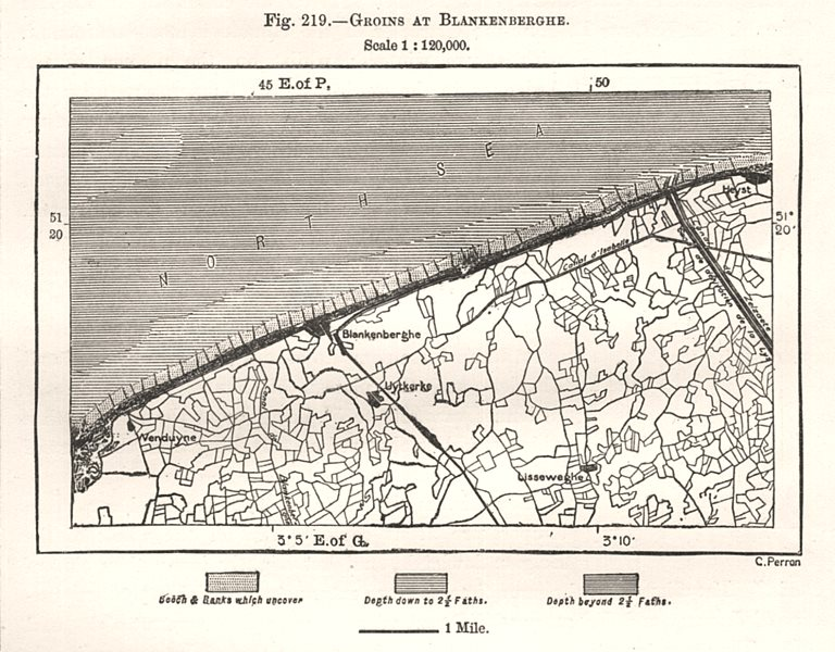 Associate Product Groins at Blankenberge. Belgium. Sketch map 1885 old antique plan chart