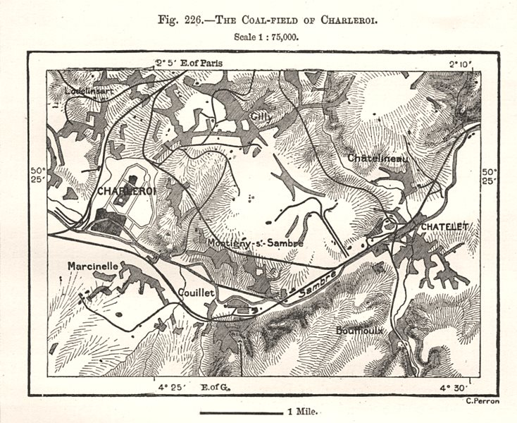 Associate Product The Coal-field of Charleroi. Chatelet. Belgium. Sketch map 1885 old