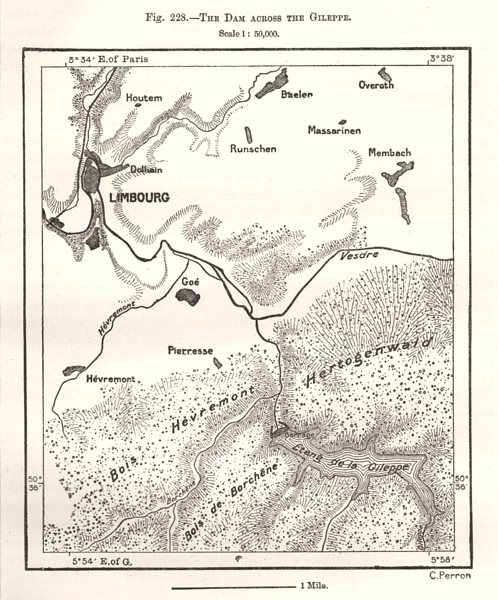 The Dam Across the Gileppe. Limbourg. Belgium. Sketch map 1885 old antique