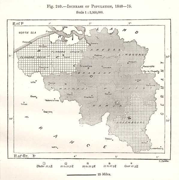 Associate Product Increase of Population (Belgium) 1840-75. Sketch map 1885 old antique