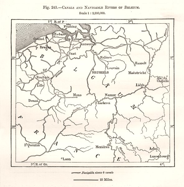 Associate Product Canals and Navigable Rivers of Belgium. Sketch map 1885 old antique chart
