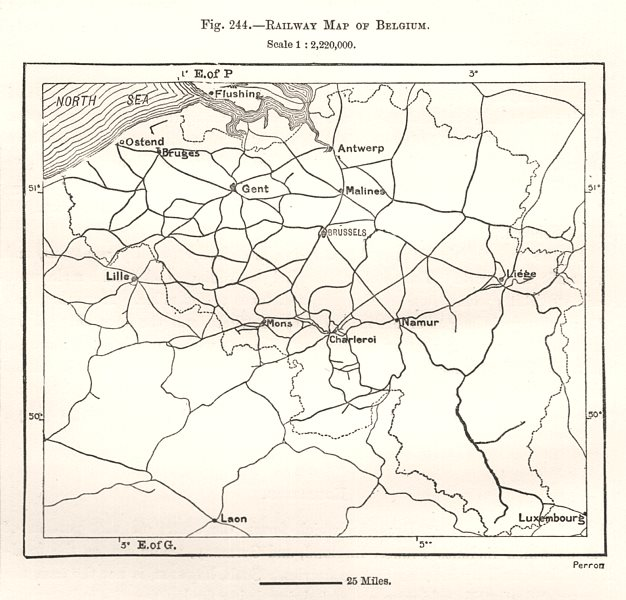 Associate Product Railway Map of Belgium. Sketch map 1885 old antique vintage plan chart