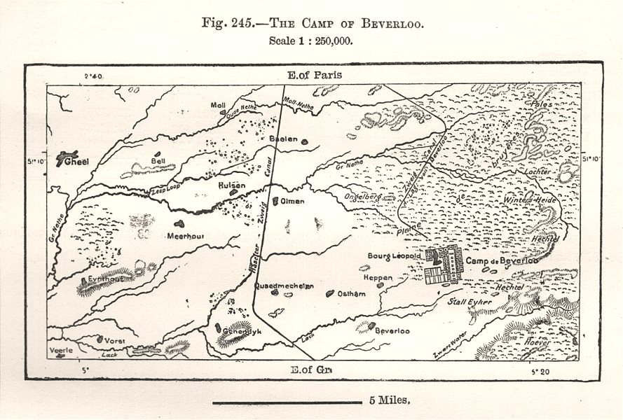 Associate Product The Camp of Beverloo. Belgium. Sketch map 1885 old antique plan chart