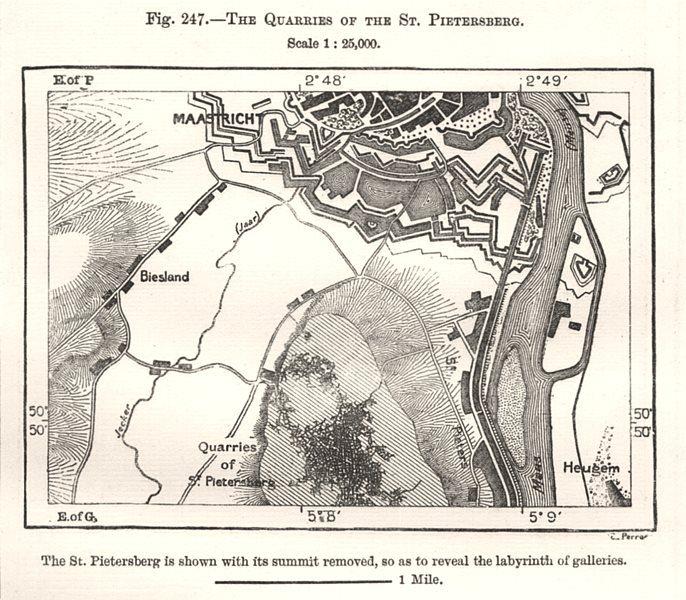 Associate Product The Quarries of the St Pietersberg. Maastricht. Netherlands. Sketch map 1885