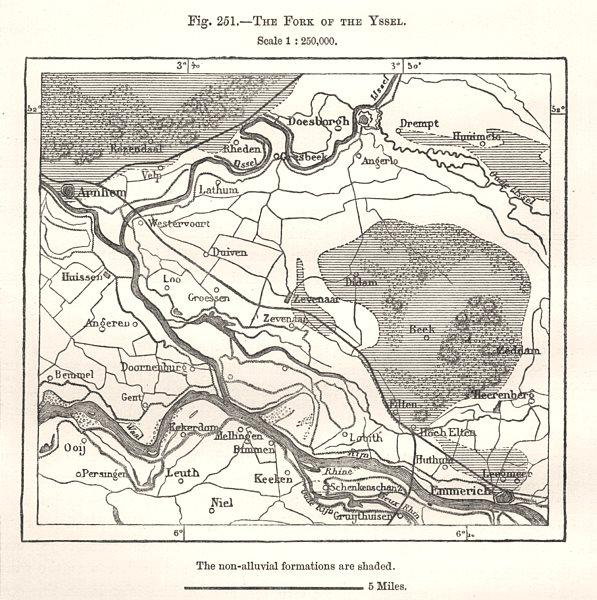 Associate Product The Fork of the Yssel. Arnhem Emmerich. Netherlands. Sketch map 1885 old