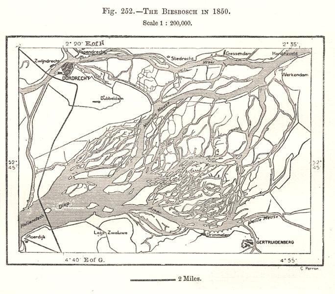 Associate Product The Biesbosch in 1850. Dordrecht Gertuidenberg. Netherlands. Sketch map 1885