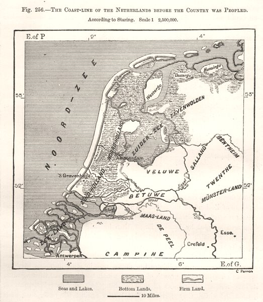 Associate Product Netherlands Coastline before it was peopled, per Staring. Sketch map 1885