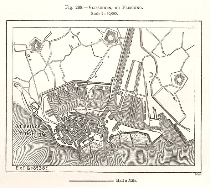 Associate Product Vlissingen, or Flushing town city plan. Netherlands. Sketch map 1885 old