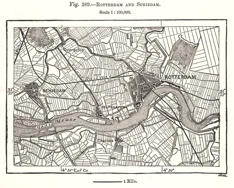 Associate Product Rotterdam and Schiedam. Netherlands. Sketch map 1885 old antique chart
