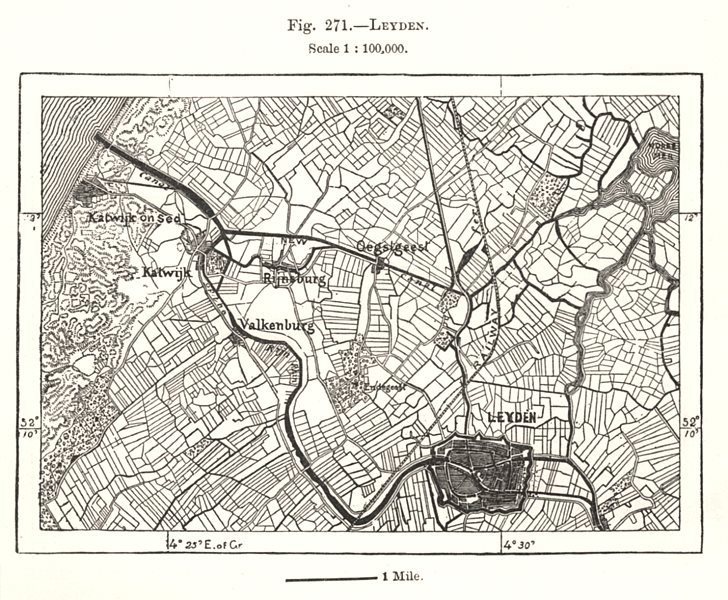 Associate Product Leiden & environs. Netherlands. Sketch map 1885 old antique plan chart