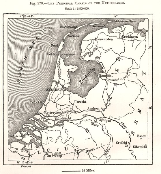 Associate Product The Principal Canals of the Netherlands. Sketch map 1885 old antique chart