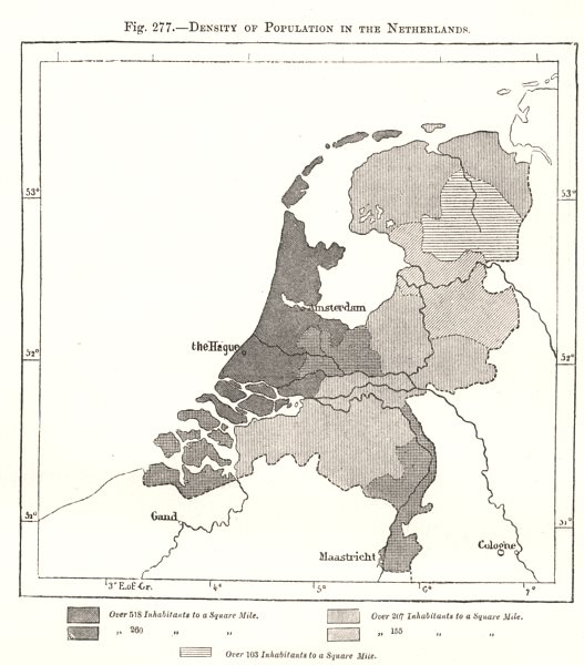Associate Product Density of Population in the Netherlands. Sketch map 1885 old antique