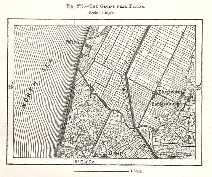 Associate Product The Groins near Petten. Netherlands. Sketch map 1885 old antique chart