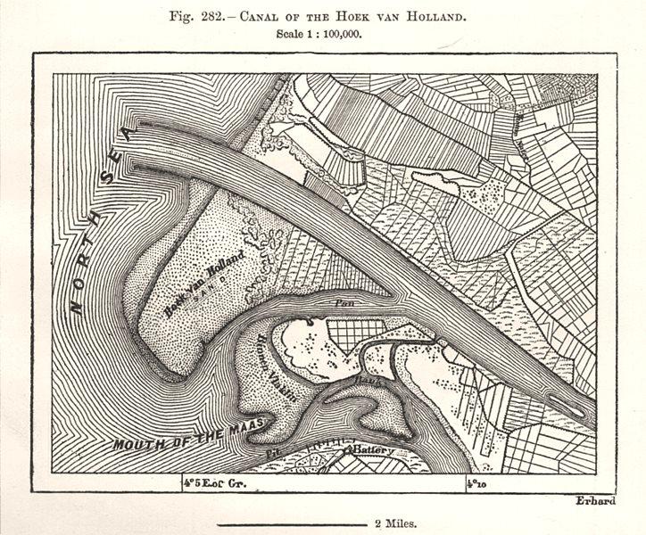 Associate Product Canal of the Hoek van Holland. Netherlands. Sketch map 1885 old antique