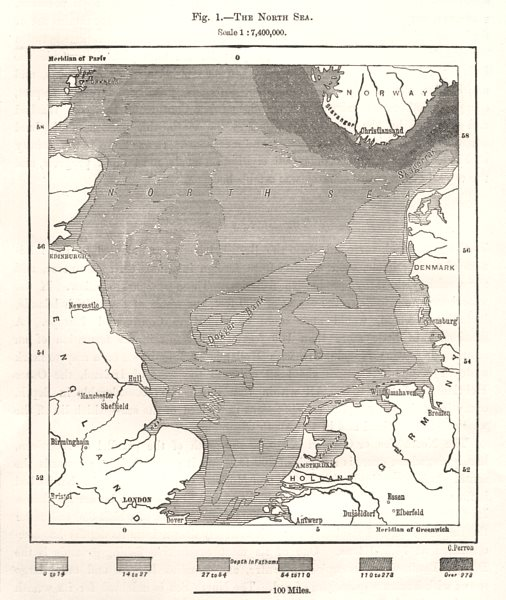 Associate Product The North Sea depths. Europe. Sketch map 1885 old antique plan chart