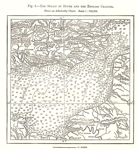 Associate Product Dover Strait & English Channel from Admiralty Chart. Soundings. Sketch map 1885