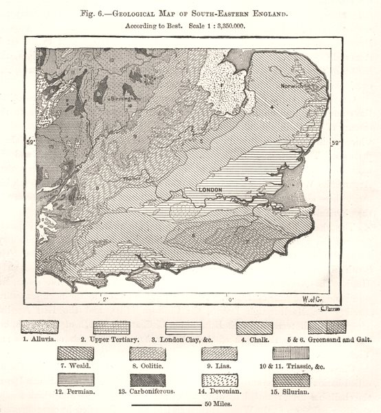 Associate Product Geological Map of South-Eastern England according to Best. Sketch map 1885