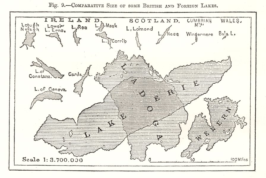 Associate Product Comparative Size of some British & Foreign Lakes. British Isles. Sketch map 1885