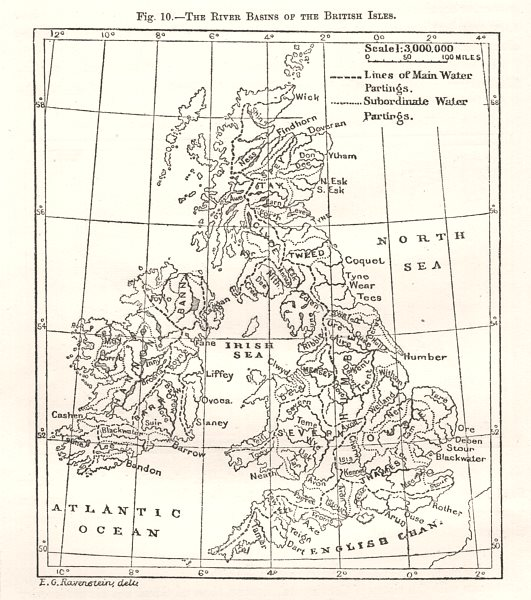 The River Basins of the British Isles. Water partings. Sketch map 1885 old