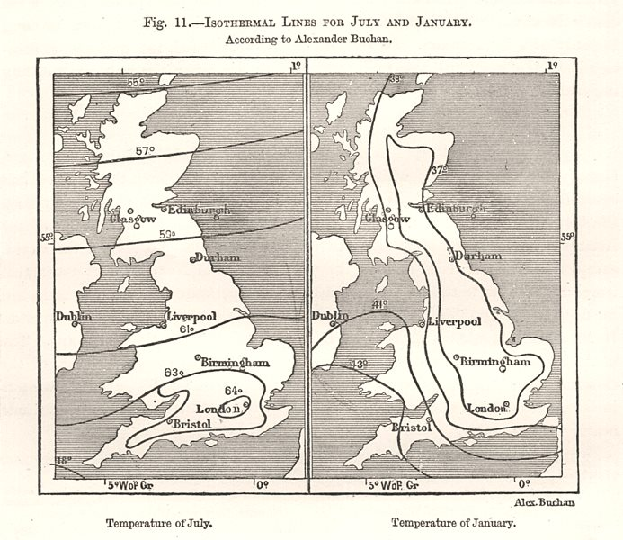 Associate Product July & January isothermal lines. Buchan. British Isles. Sketch map 1885