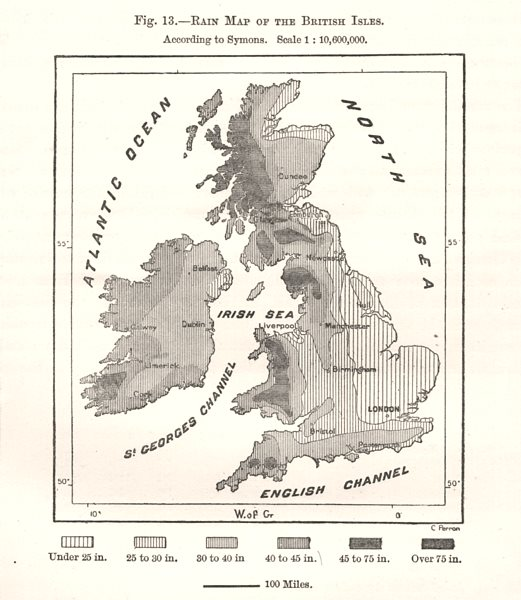 Associate Product Rain Map of the British Isles. Sketch map 1885 old antique plan chart