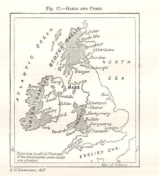Associate Product Gaels and Cymri. Gaaelic & Welsh language. British Isles. Sketch map 1885