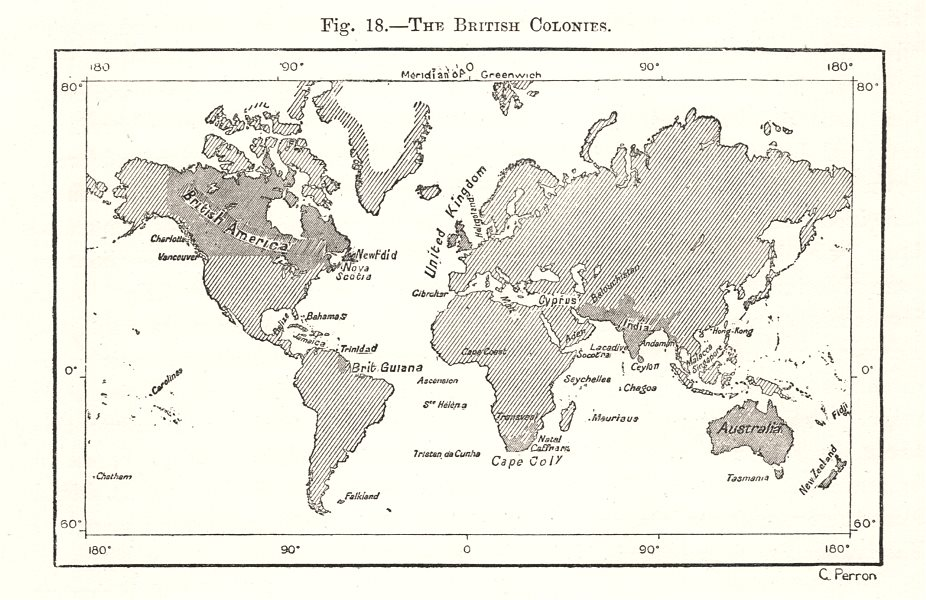 Associate Product The British Colonies. Empire. World. Sketch map 1885 old antique chart
