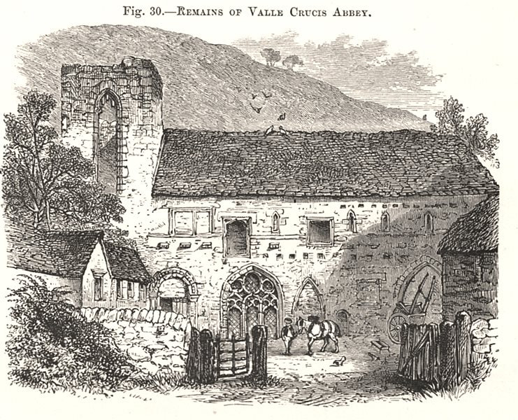 Associate Product Remains of Valle Crucis Abbey. Wales 1885 old antique vintage print picture