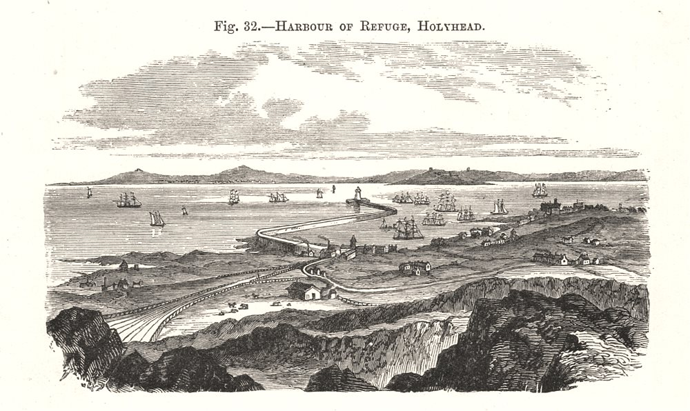 Associate Product Harbour of Refuge, Holyhead. Wales 1885 old antique vintage print picture