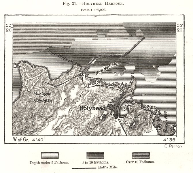 Associate Product Holyhead Harbour. Anglesea Wales. Sketch map 1885 old antique plan chart